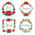 Flowers Set. Floral Frames. Red Roses. White Roses Royalty Free Stock Photo