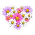 Flowers in the shape of heart design elements Royalty Free Stock Photo
