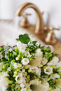 Flowers in sink closeup bunch of watering Royalty Free Stock Image