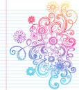 Flowers Sketchy Back to School Doodle Vector Stock Image