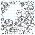 Flowers Sketchy Doodles Vector Design Elements Stock Photo