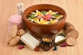 Flowers spa tub, Frangipani flowers spa tub and spa skin with Yacon roots, fresh milk and soap. Royalty Free Stock Photo