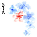 Flowers with space for your own text watercolor painting Stock Photo
