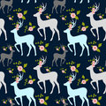 Flowers and stag, deer seamless pattern.