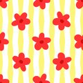 Flowers on striped background. Simple floral seamless pattern.