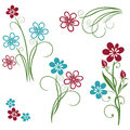 Flowers summer set colorful blue and red Stock Image
