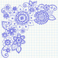 Flowers and Swirls Sketchy Notebook Doodles Royalty Free Stock Images