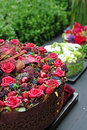 Flowers tart with berries Royalty Free Stock Photography