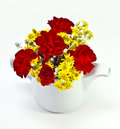 Flowers in teapot closeup of red roses and yellow white studio background Royalty Free Stock Photo