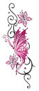Flowers tendril butterfly floral tribal with in black and pink Stock Photo