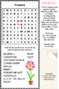 Flowers themed wordsearch puzzle zigzag word search suitable both for kids and adults answer included Stock Photography