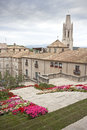 Flowers time in girona city photo taken from the cathedral temps de flors event that means Royalty Free Stock Images