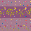 Flowers trees suns and birds on violet background seamless pattern Stock Photos