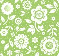 Flowers and twigs, background, seamless, decoration, green, vector.