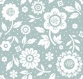 Flowers and twigs, background, seamless, decorative, blue, vector.