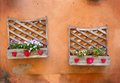 Flowers two old wood planters and in a typical italian village Stock Photo