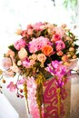 Flowers in a vase as decoration banquet hall Stock Photo