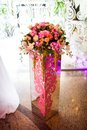 Flowers in a vase as decoration banquet hall Stock Photography