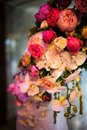 Flowers in a vase as decoration banquet hall Royalty Free Stock Photo