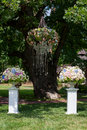 Flowers in the vase. Elegance set up for wedding ceremony Royalty Free Stock Photo