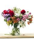 Flowers vase on fabric Royalty Free Stock Photo