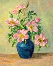 Flowers in a Vase Vintage Oil Painting Royalty Free Stock Photo