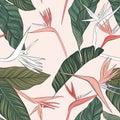 Flowers vector green pink tender illustration. Seamless beach design with exotic foliage texture. Hawaiian print