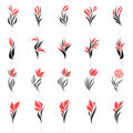Flowers. Vector logo template set. Royalty Free Stock Images