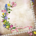 Flowers on the vintage background with lace space for photo or text Stock Photography