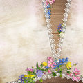 Flowers on the vintage background with lace space for text or photo Stock Image
