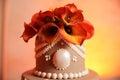 Flowers on wedding cake Royalty Free Stock Photo