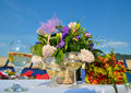 Flowers and white wine Royalty Free Stock Photo