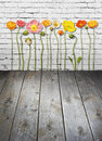 Flowers Wood Brick Wall Background Royalty Free Stock Photo