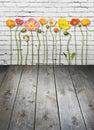 Flowers Wood Brick Wall Backgr...