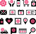 Flowery business web icons illustrated set of with pink flowers isolated on white background Stock Photos