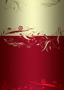 Flowery template in red and gold with trimmings Royalty Free Stock Image