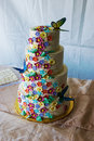 Flowery wedding cake with butterflies Royalty Free Stock Photo