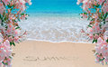 Flowes sea and summer writing pink oleanders by the shore with written on the sand Royalty Free Stock Photography