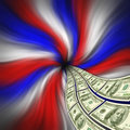 Flowing American currency for financial stimulus Stock Photos