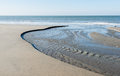 Flowing water low tide dutch north sea coast Royalty Free Stock Image