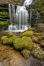 Flowing woodland waterfall.