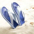 Flp flops on the beach Royalty Free Stock Photo
