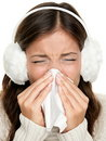 Flu or cold sneezing woman Stock Photos