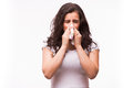 Flu or cold - sneezing woman sick blowing nose. Royalty Free Stock Photo