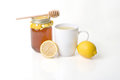 Flu Medicine - Herbal Tea With Honey & Lemon Royalty Free Stock Photo