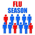 Flu season blue and red figures poster illustration Royalty Free Stock Photo