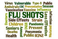 Flu shots word cloud on white background Stock Images