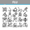 Flu Symptoms Medical Collection Icons Set Vector