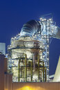 Flue-gas desulfurization plant at night Royalty Free Stock Photo