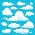 Fluffy cartoon clouds. Shine sky weather illustration panorama clean vector set isolated Royalty Free Stock Photo